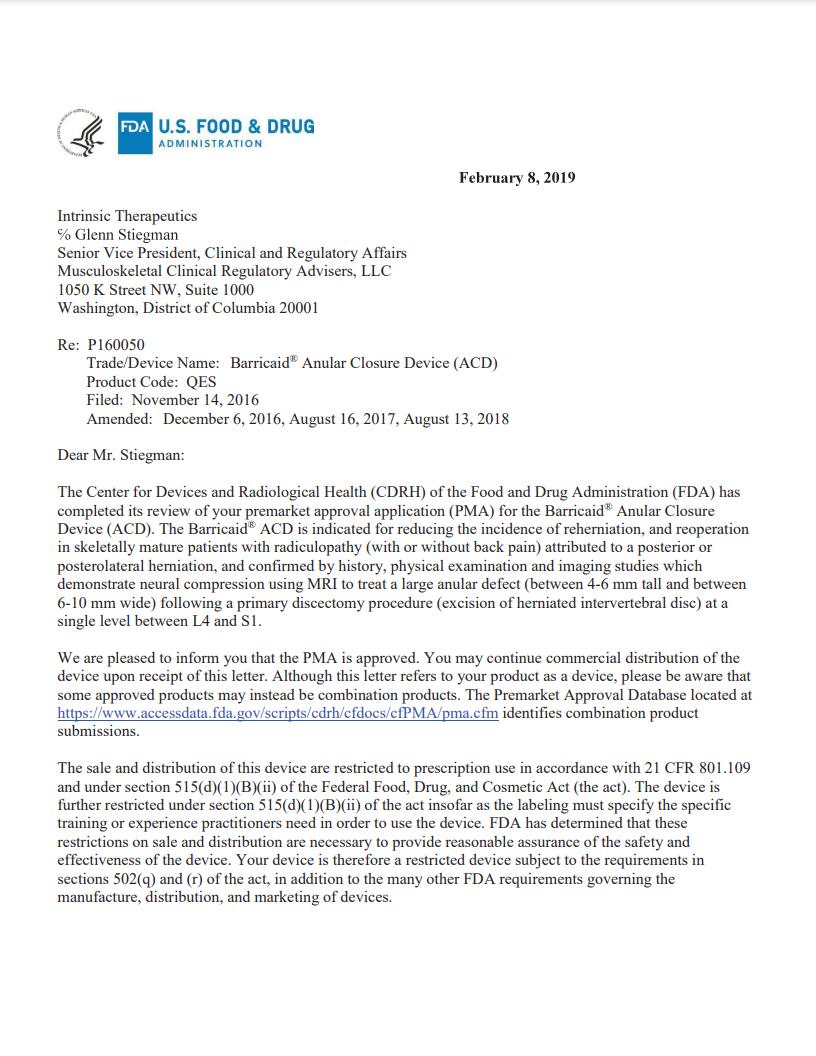 FDA approval letter image